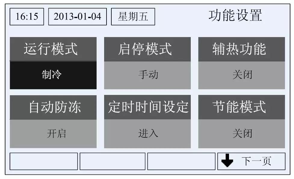 这是用户常用的一些基本设置。在屏幕显示主控制菜单时,功能键1 进入。屏幕显示如下图所示