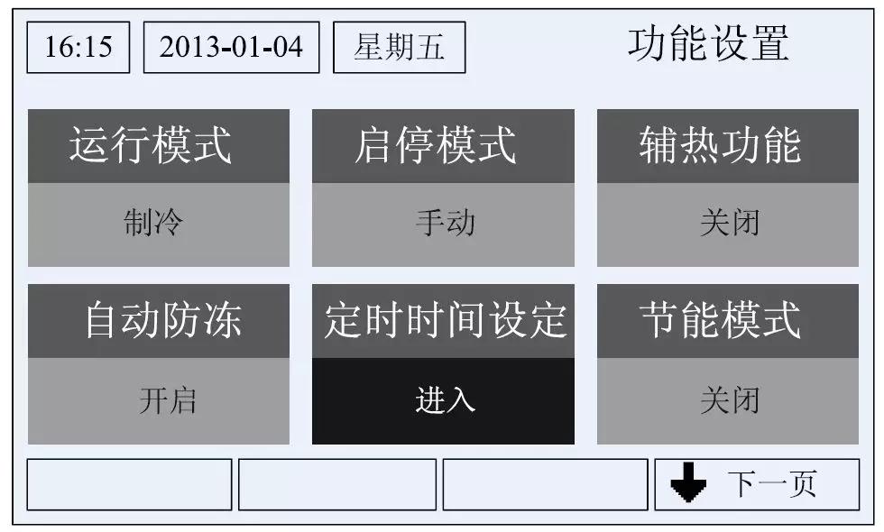 a. 运行模式设定 选择运行模式,按上调键,或者下调键改变模式设定:如果是热泵机组,运行模式则可设置为:制冷,制热,手动除霜。 b. 启停模式设定 选择启停模式,按上调键,或者下调键,启停模式可在手动模式和定时模式之间切换。 c. 辅热功能设定 选择辅热功能,按上调键,或者下调键,关闭表示该功能没有使能。 d. 自动防冻设定 选择自动防冻,按上调键,或者下调键,关闭表示该功能没有使能。