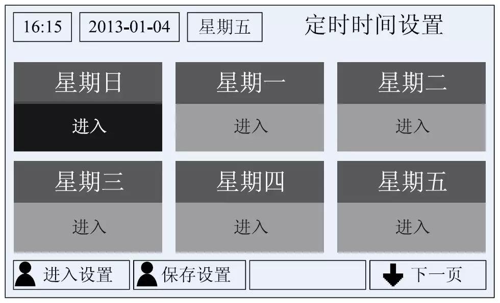 选择定时时间设定,按确定键进入。屏幕显示如下图所示