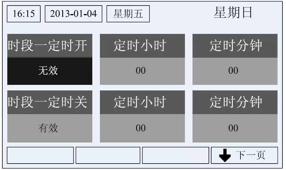 定时界面的第一页时,选择星期日,按确定键,则进入定时子界面,定时按照以下操作。