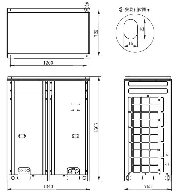 GMV-335WM/A、GMV-400WM/A、GMV-450WM/A、GMV-335WM/B、GMV-400WM/B、GMV-450WM/B 外形及安装尺寸