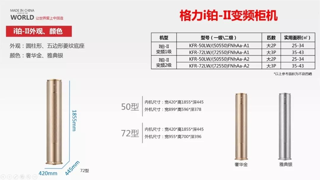 格力I铂II变频柜机尺寸