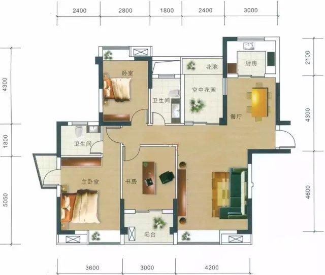 房屋户型图(装修效果图)核算出每个房间面积;只核算需要制冷空间面积;
