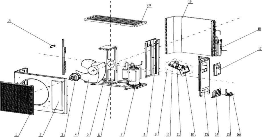风管外机爆炸图(以C1系列静音型机组为例)
