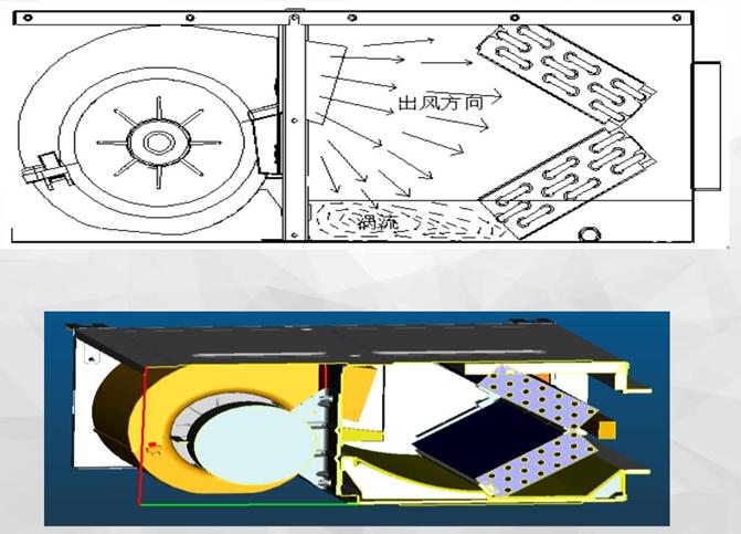 具有导风功能的接水盘设计