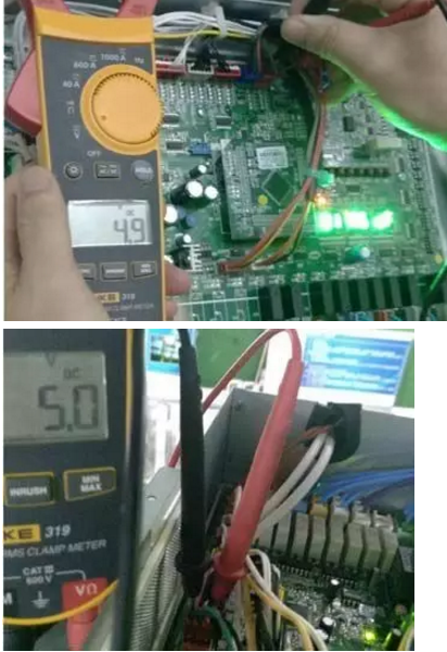 机组上电后,在压力传感器接线端子上检测电压输(3孔)和接地间(1孔)对应主板直流输出电压,如果电压明显超出5±0.25V范围,证明主板检测电路损坏,需要更换主控板
