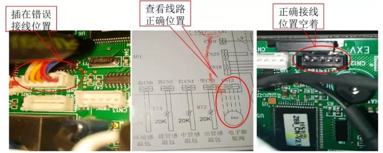 个别机型(NaE系列)电子膨胀阀线圈插错位置同样会出现电子膨胀阀不受控。正确的位置是CN12,安装人员却插在了CN9上,最快张的一户四台内机,四台全部插错了