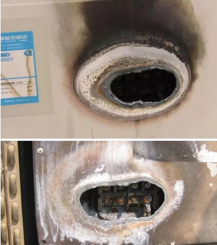 """为什么要设置一个""""热温度保险""""呢?为了防止接线松脱电源发热起火发生安全事故,而有的厂家没有任何保护措施,会造成成安全事故。两层金属盖板被击穿"""