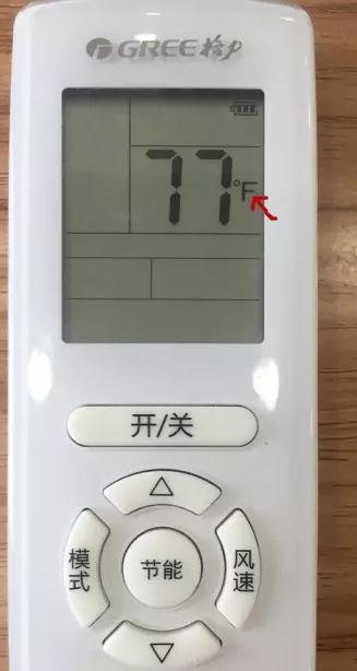 """如图,同时按""""模式""""、""""▽""""键(温度减键)即可切回摄氏度(℃)。"""