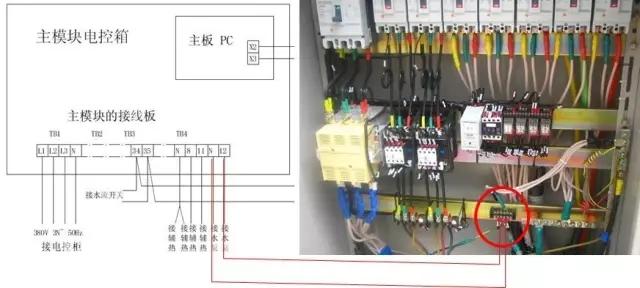 机组联动控制是怎么连接的呢?用一根两芯导线(2X1mm²)将水泵交流接触器自动控制点接至接线板TB4-12、N连接方法如下图