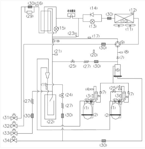 2.3  、GMV-504W/A、GMV-560W/A、GMV-615W/A 采用两台全直流变频压缩机,制冷系统工作原理图如下: