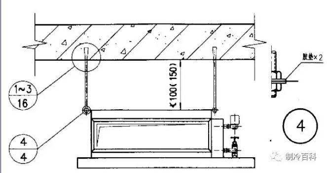 卧式风机盘管安装节点: