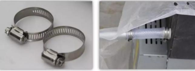 排水管与室内机排水管连接时,必须用管箍固定,不得用胶水粘贴,以保证维修方便