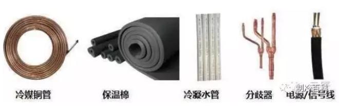 冷媒铜管、保温棉、冷凝水管、分歧器、信号线。