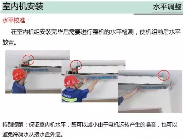 内机安装时必须水平,同时内机的后方离墙面距离留足检修空间(10cm以上)方便以后设备有问题可以检修电机。