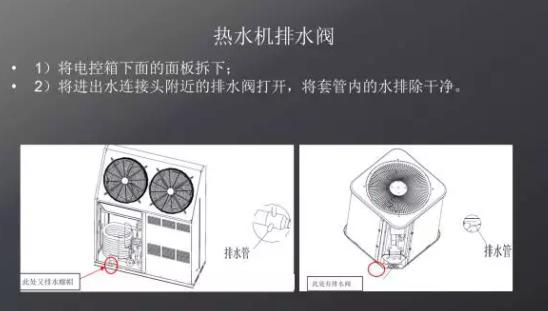 各种机型的放水防冻操作方法: