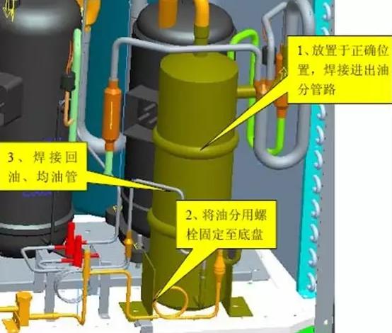 根据以下步骤安装油分离器
