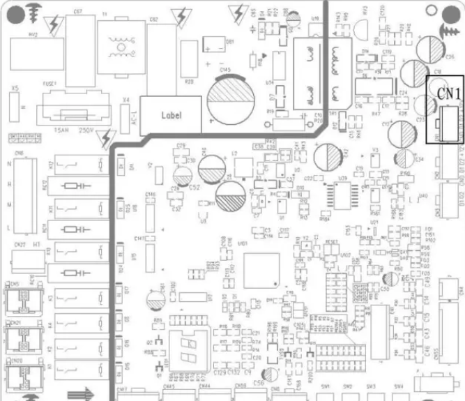 图1.6为外机主板调试接口示意图