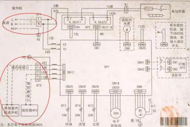 而另一张图片是我们实际安装过程中应该正确的接电。电源和通讯的接线方式