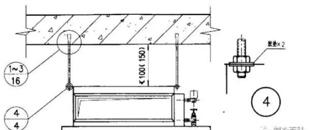 卧式风机盘管吊杆与楼板固定的节点: