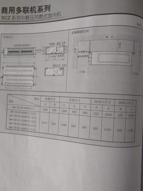 格力SCZ系列中静压风管式内机性能参数规格