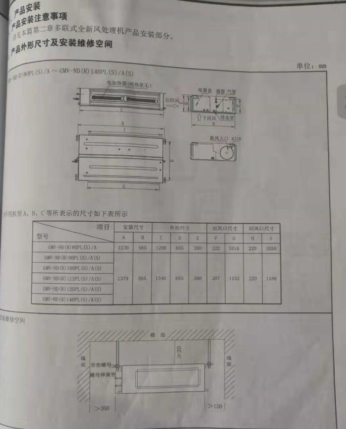 格力SDE系列商用高效低静压风管式室内机产品性能参数规