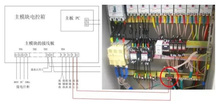 用一根两芯导线(2X1mm²)将水泵交流接触器自动控制点接至接线板TB4-12、N连接方法如下图