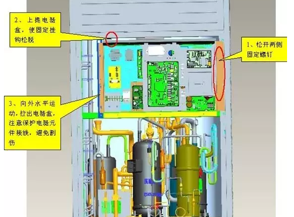 在拆卸压缩机接线、感温包和电加热时,应该作好相应的标示,方便更换后重新接线。