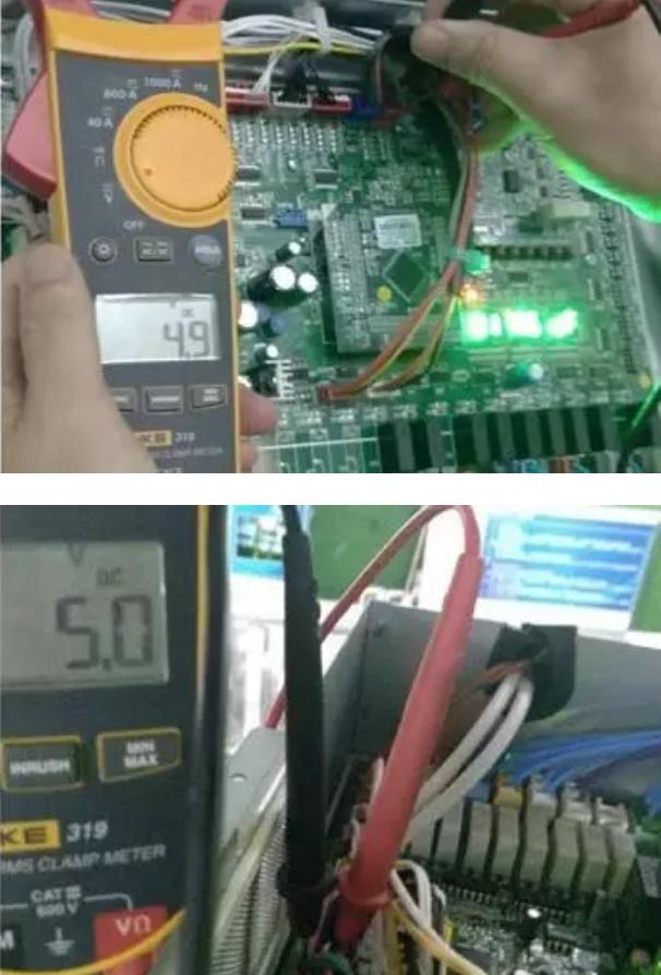 机组上电后,在压力传感器接线端子上检测电压输(3孔)和接地间(1孔)对应主板直流输出电压