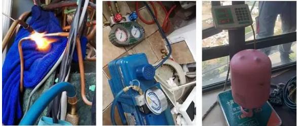 查到漏点,补焊、再保压、抽真空、定量加冷媒、开机调试,测试运行数据是否正常